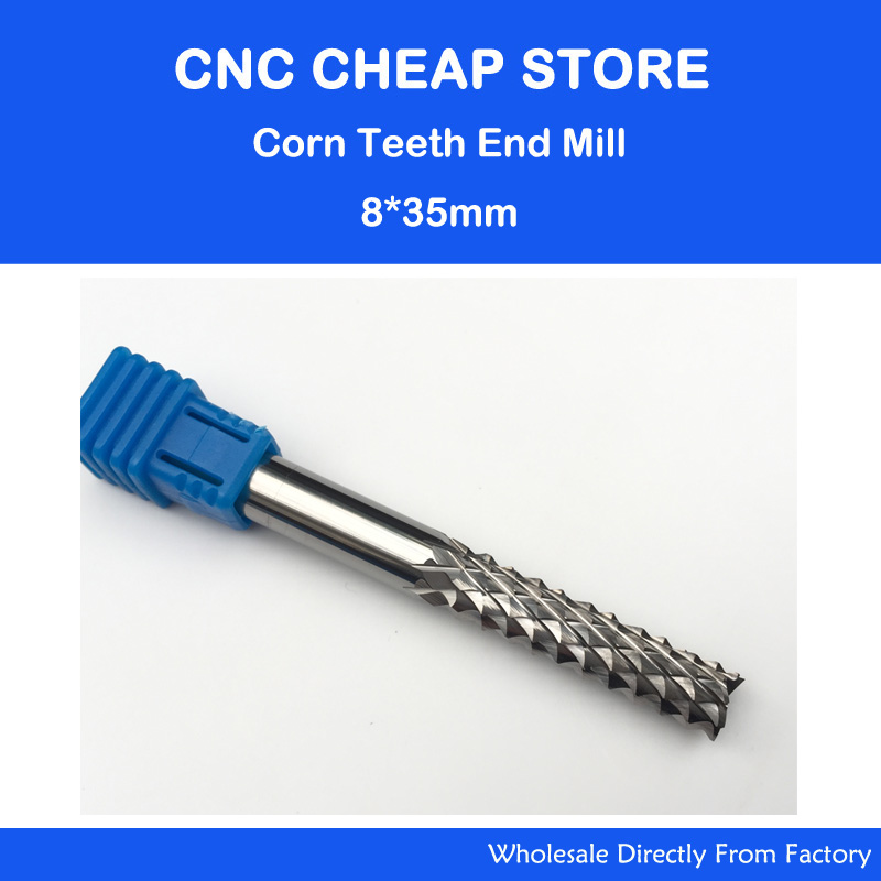 1 pc 8*35mm Boa Qualtiy Aço Tungsten Carbide End Moinho Gravura Dentes de milho Bits Fresa Broca PCB CNC Brocas Rotativas Bit