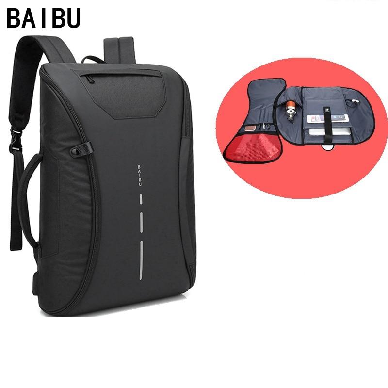 BAIBU hommes sac 15.6 pouces sac à dos pour ordinateur portable multifonction USB charge étanche voyage sacs à dos unisexe mode décontracté retour