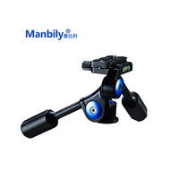 Manbily VH 60 Two Handle Three dimensional Tripod Head Pan Heads For Monopod with Quick Release Plate for Photography tool