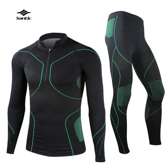 Santic Men`s Sport Thermal Underwear Autumn & Winter Windproof Multi-functional GYM MMA Cycling Running Training Fitness apparel