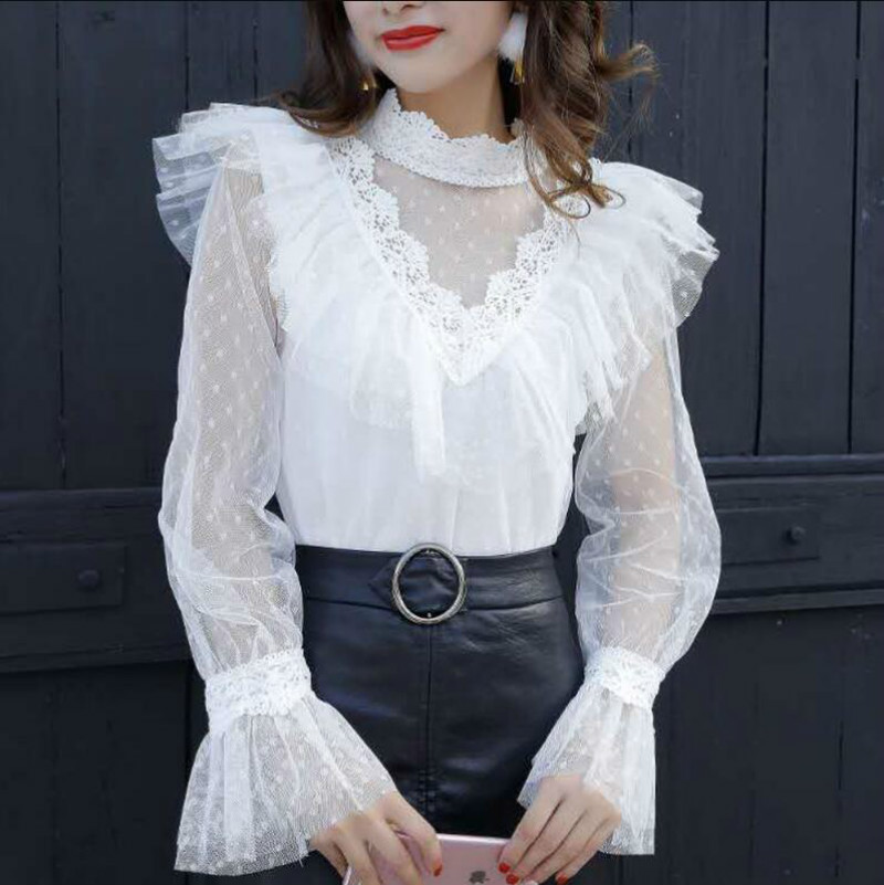 Neploe Lace Patchwork Bow Chiffon Blouse Flare Sleeve Ruffles Single Breasted Women Tops Stand Collar Bandage New Blusas 68442 Back To Search Resultswomen's Clothing