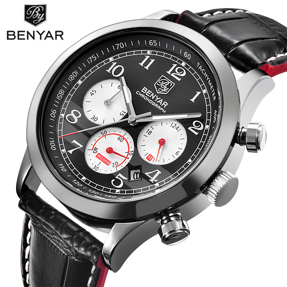 BENYAR Sport Watches for Men Waterproof Chronograph Six Pointer Outdoor Wrists Quartz Watch Man's Watch Army Aviator Style Clock ot03 hot sale fashion military pilot aviator army style canvas band quartz analog outdoor sport men watch
