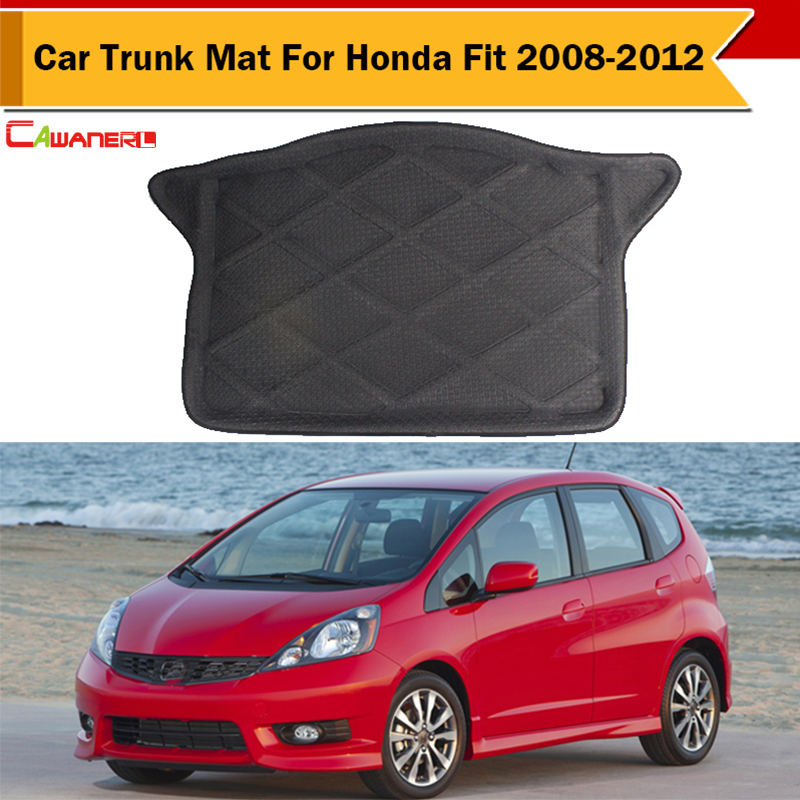 Cawanerl Top Quality ! Car Trunk Luggage Mat For Honda Fit 2008-2012 Protector Carpet Boot Tray Liner Rubber Foam Easy Cleaning