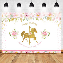 Mehofoto Gold Unicorn Backdrop Birthday Party Background Folral Photo Baby Girl Photography backdrop