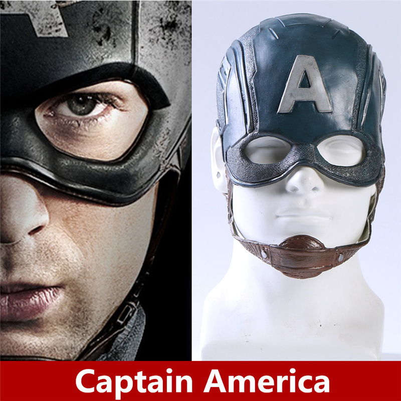 Anime Movie The Avengers Captain America Cosplay Mask Steven Rogers Helmet Soft Latex Mask Kids Adult Cosplay Props