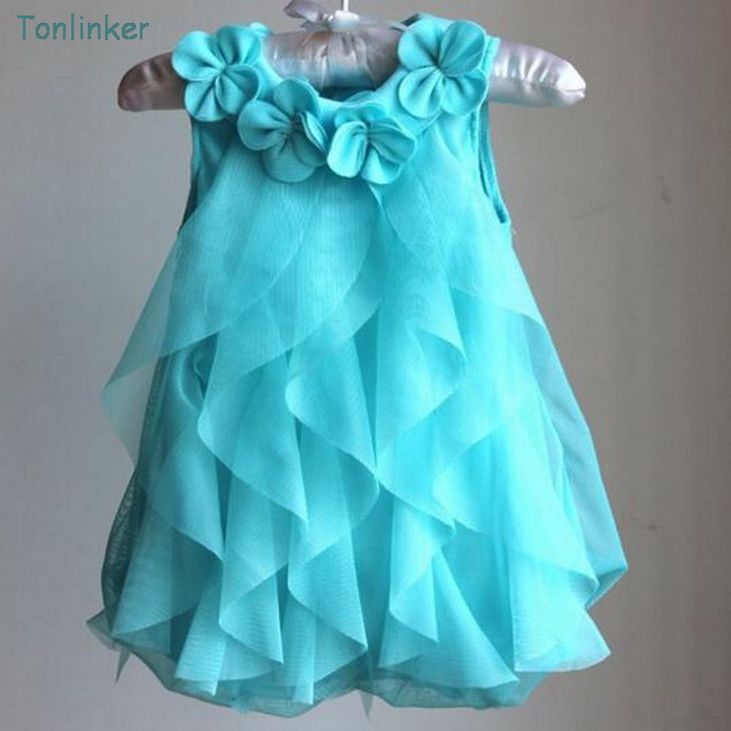 Tonlinker Girls Princess dresses Summer chiffon flower Costume Infant 1 Year Birthday Dr ...