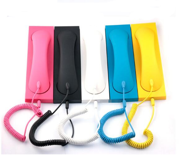 Colorful fashion retro phone handset radiation 3.5mm phone headset microphone no radiation for iphone samsung wireless retro telephone handset and wire radiation proof handset receivers headphones for a mobile phone with comfortable call