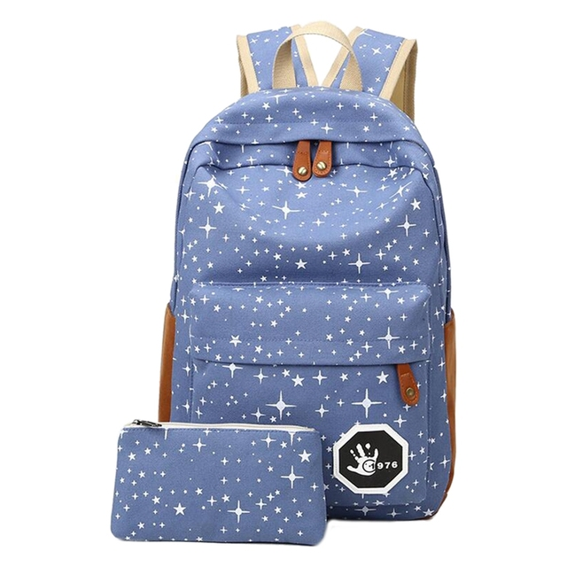 2 pcs/set Fashion Cute Star Women Men Canvas Printing Backpack School Bag For girl Teenagers Casual Travel bag 4