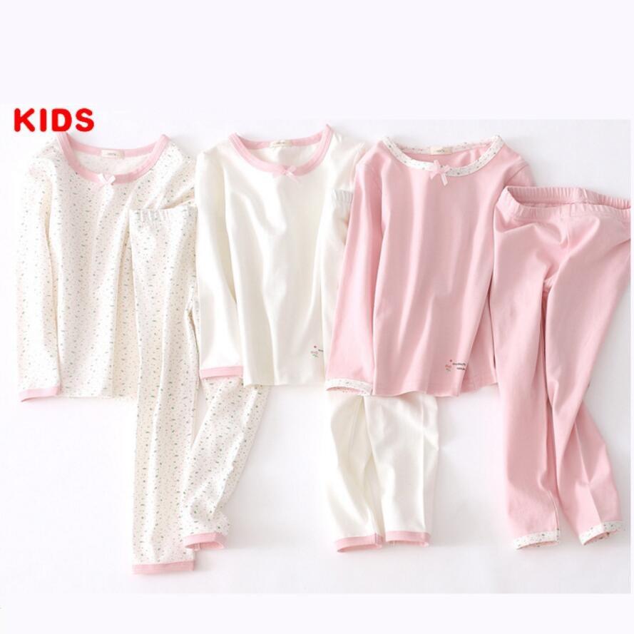 iairay 2pcs cotton pajama bottoms casual pants girls pajamas sleepwear kids underwear set pink long johns spring autumn pijama