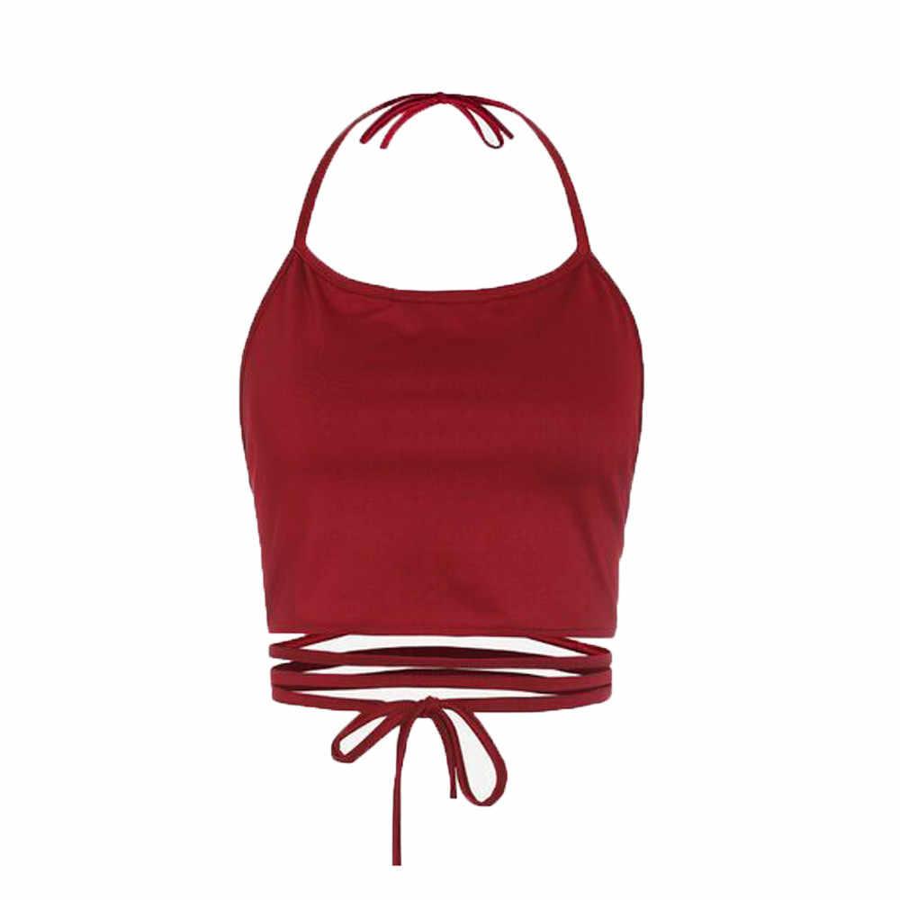 女性のノースリーブ背中のベストホルタータンクトップスファッション人間サンドバッグ背中セクシーな丈はシャツホルターネックタンク作物はベスト