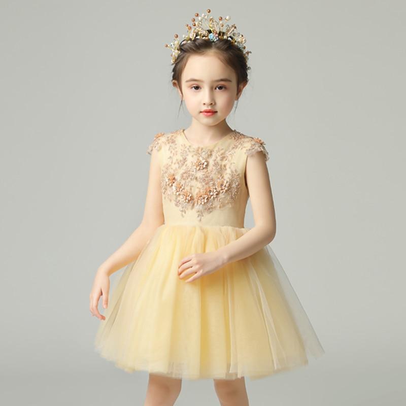 Lovely Beads Vestidos Communion   Dresses   Short   Flower     Girl     Dress   O-neck Princess Brithday Banquet Lace Applique Wedding Pageant