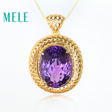 MELE Natural Amethyst 925 sterling silver pendant for both women and man,big oval cut Gold plated Geometric pattern fine jewelry