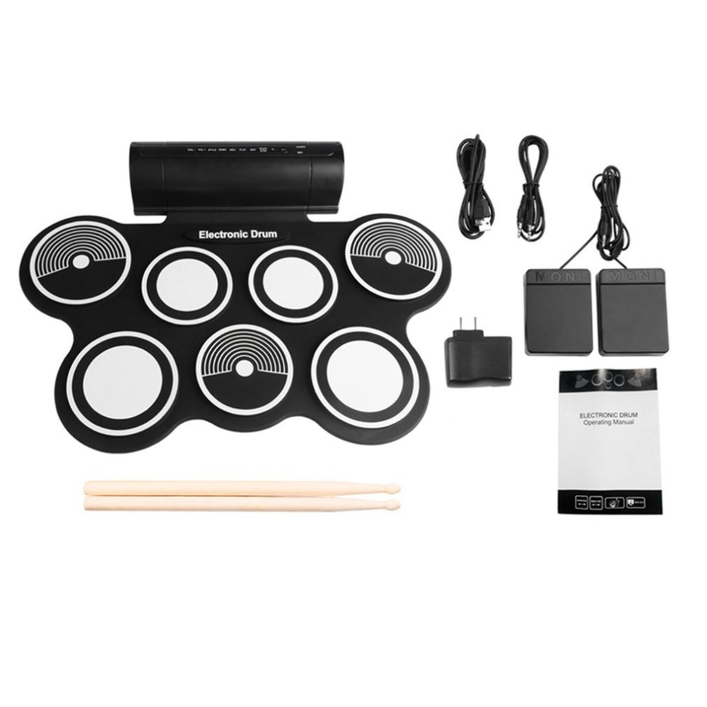 W759 Portable Roll Up Electronic Drum Digital USB Desktop Musical Instrument Hi-hat And Snare Drum Pads For Kids Adults 14 inch double tone afanti music snare drum sna 109 14