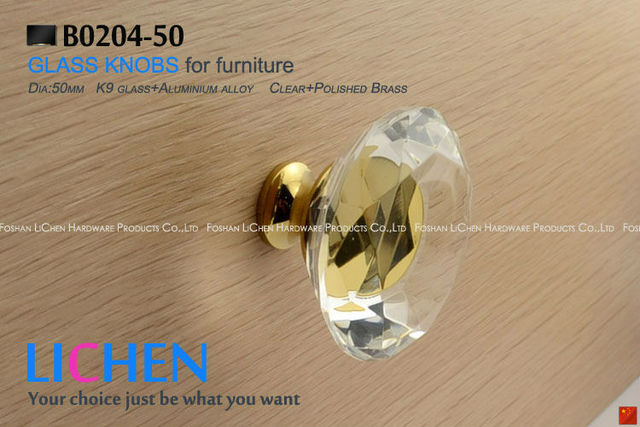 Free shipping(6 pieces/lot)clear glass brass  crystal knobs