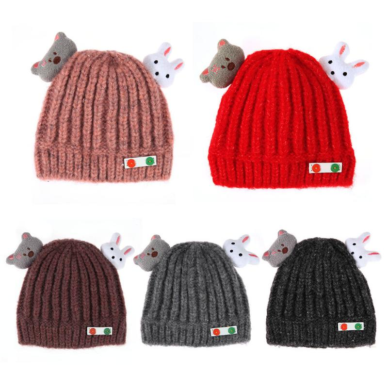 Best buy CHINATERA 2017 Cute Cap Infant Baby Girls Bear Rabbit Ears Knitted  Wool Winter Warm Cap Soft Cotton Hat For Children online cheap b8b0e884438a