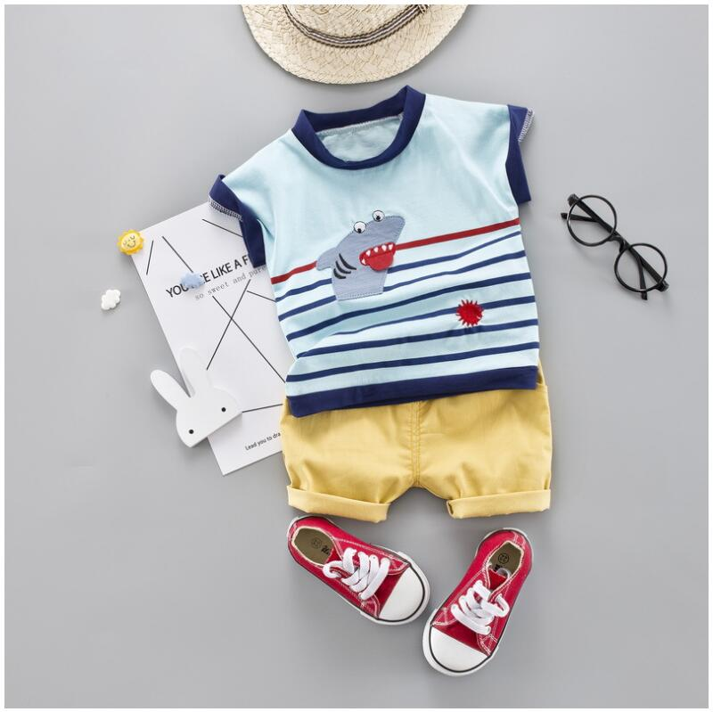 Toddler Baby Boy Summer Clothes Set Striped Cartoon Shark Children Clothing Short Sleeve Shirt Infant Suit in Clothing Sets from Mother Kids