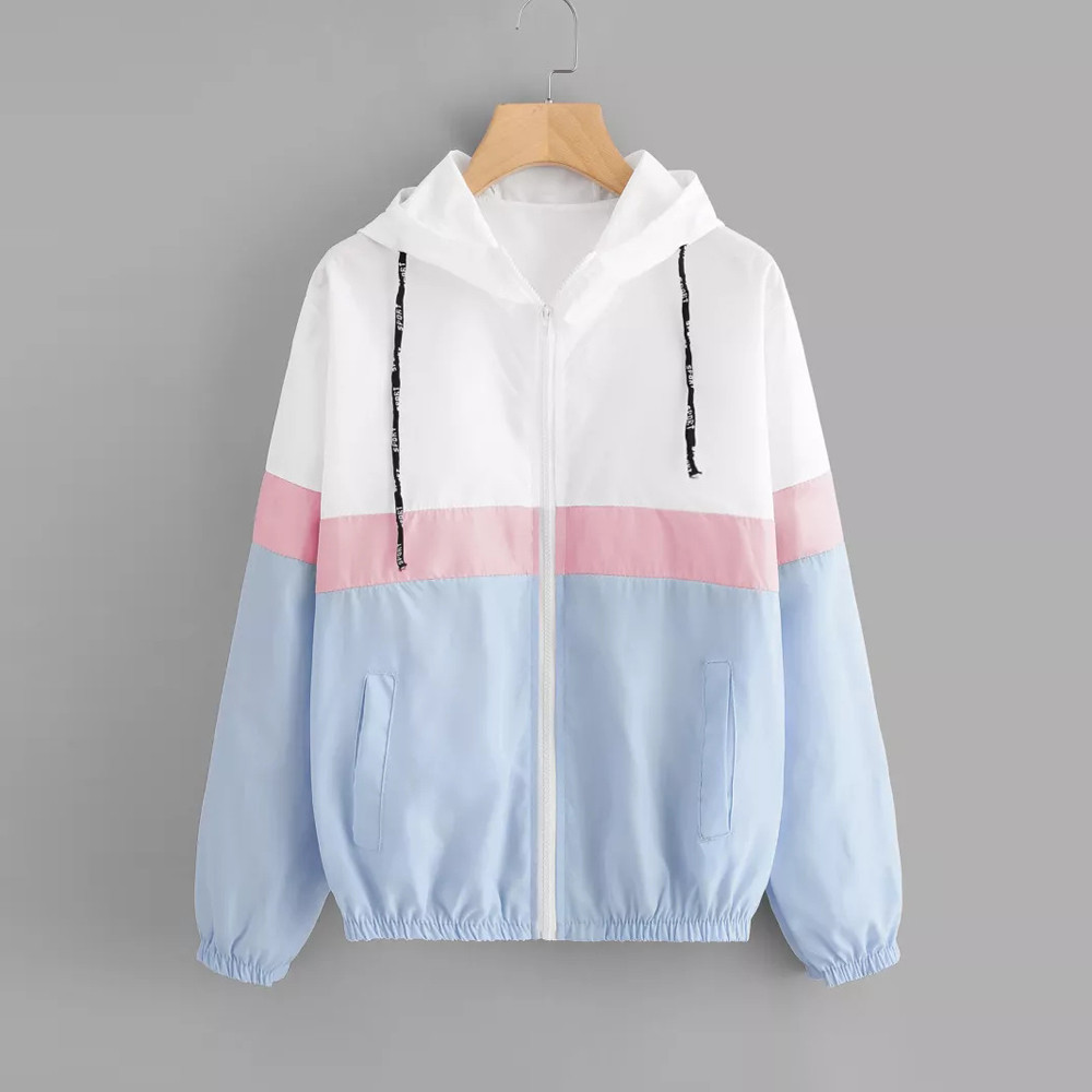 FeiTong Windbreaker jacket women coat Long sleeve patchwork tone splice jacket zipper Pockets winter coat women hooded autumn