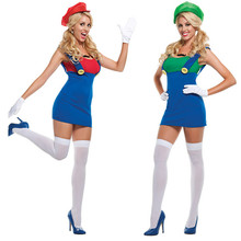 2017 New Adult Halloween Cosplay Costumes Super Mario Luigi Brothers Plumber Women Party Dress Plus Size M-XL
