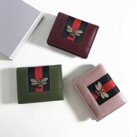 Women Wallet Many Departments Card Holder Foldable Cow Leather Mini Purse Wallet Patchwork Mini Bags Coin Purses cartera mujer