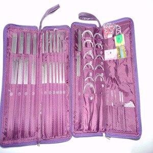Image 1 - 104 adet paslanmaz çelik düz iğne dairesel iğneler örme İğneler tığ kanca örgü çanta ile Set dikiş iğnesi kitleri