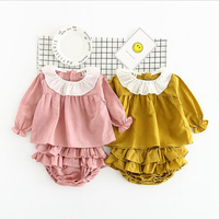 2017 Baby Girl Clothes 2pcs Clothing Sets kids Pink Yellow Cotton Rompers Tutu Ruffle Bloomers Shorts Newborn suits