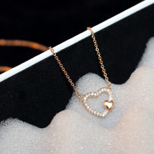 CX-Shirling Rose Gold Plated Crystals Heart Pendant Necklace for Valentines Day Gift of Love