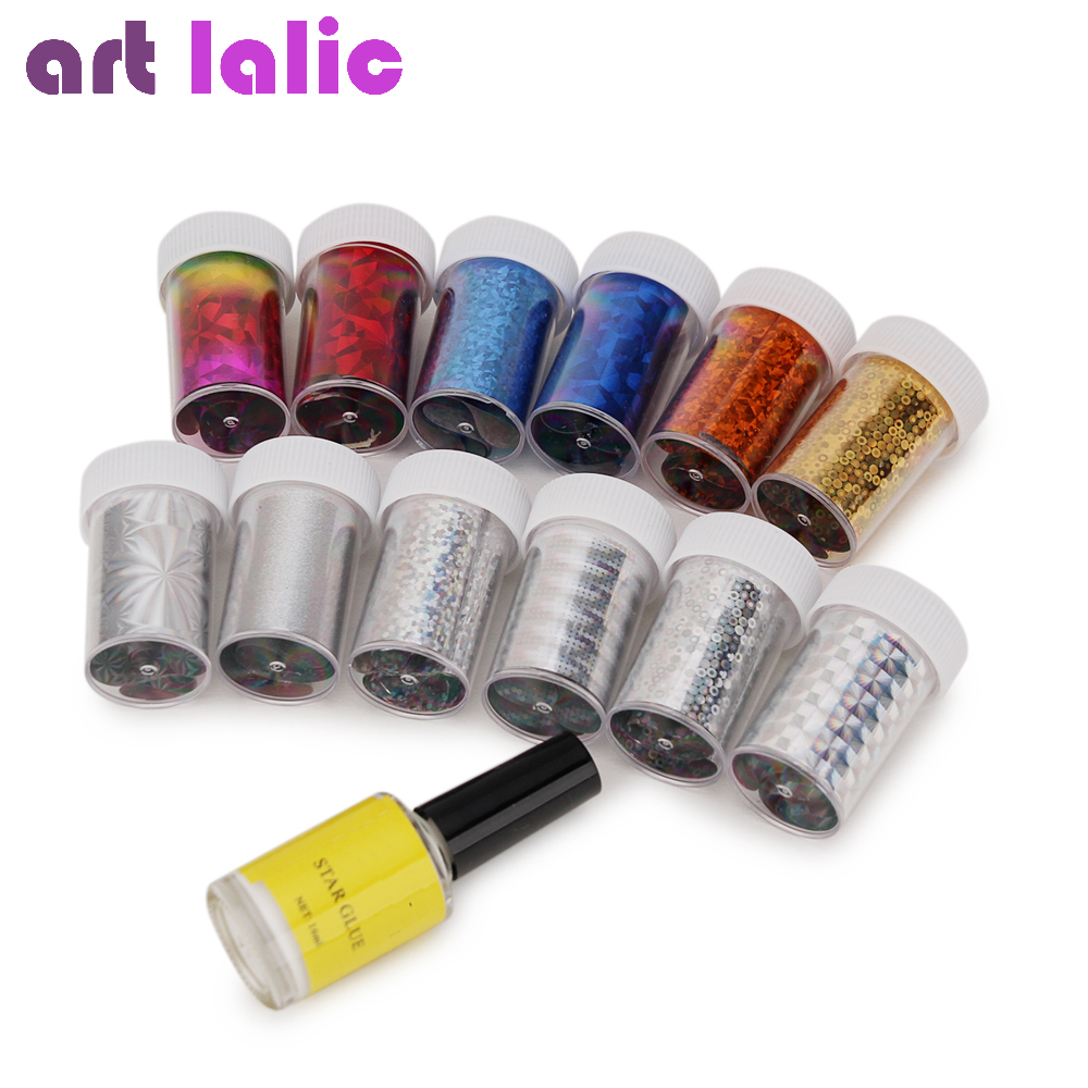 12 stks Nail Art Transfer Folie Sticker Papier Willekeurige Kleur voor Nail Tips Decoratie + 1 Stks 16 ml Nail Art Lijm Gel Polish lijm