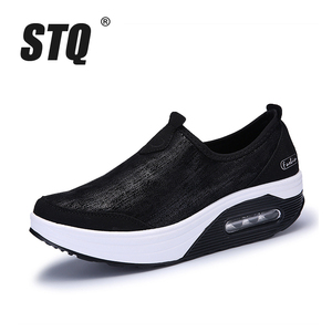 Image 2 - STQ 2020 סתיו נשים שטוח פלטפורמת סניקרס נעלי נשים לנשימה רשת נעליים יומיומיות להחליק על פלטפורמת מטפסי נעלי 7666