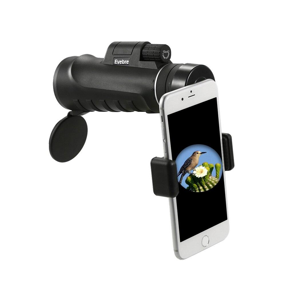 Eyebre 10x42望遠鏡単眼コンパクトハンドヘルドマルチコーティング単眼スポッティングスコープ望遠鏡とスマートフォンアダプターマウントスマートフォン