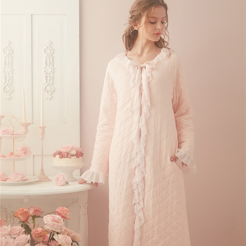 Winter Robe Women Long Robe Vintage Princess Robe Nightgown R Pyjama Winter Clothing Female