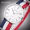 PACIFISTOR 'Quartz Relógios de Nylon Durável Caixa de Aço Inoxidável Banda relógios de Pulso Estilo Casual Unisex Relógios Relojes