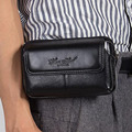 5.5 Inch Waist Bag Genuine Leather Cowhide Mobile Cell Phone Case Bags Men Hip Bum Money Purse Pouch Loop Skin Belt Fanny Pack