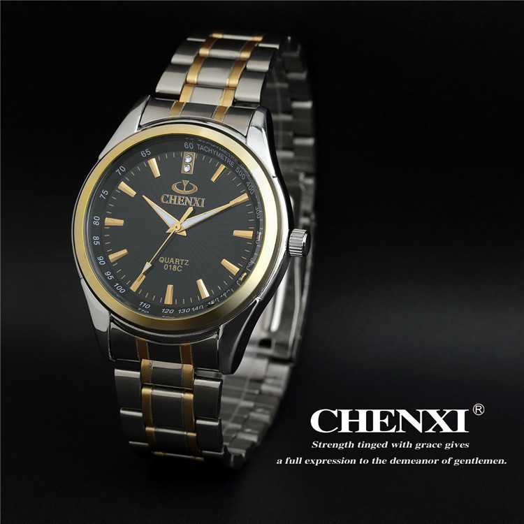 Luxury Brand CHENXI Full Stainless Steel font b Men b font Quartz Dress Wrist watches Waterproof