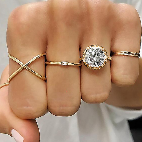 Fashion Multi-piece Women Finger Ring Sets 2019 Sweet Crystal Water Drop Bohemia Charm Ring Sets For Women Party Jewelry Gift Karachi