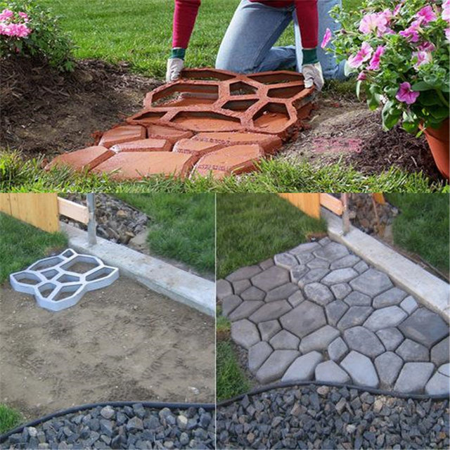 Urijk Garden Path Maker Molds Walk Pavement Concrete Mould DIY Manually Paving Cement Brick Stone Road Concrete Pathmate Moulds