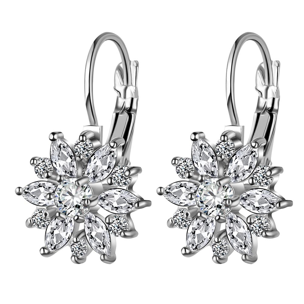 Fashion Ladies Earrings Inlaid With Sun Flower Zircon Pop Engagement Jewelry Wedding Anniversary Gift For Girlfriend Surprise