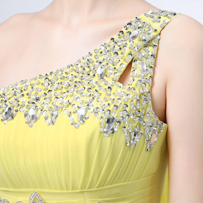 Ladybeauty 2018 Baru Elegant Satu Bahu A-Line Gaun Petang Panjang - Gaun acara khas - Foto 6
