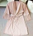 Venta caliente de Alta calidad atractiva de las mujeres ropa de dormir de encaje batas más tamaño M L XL XXL real femenino de seda albornoces envío gratis