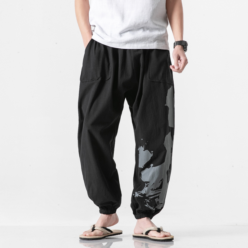 <+>  Мужские брюки с рельефными шароварами из льна Yoga Boho Брюки брюки ★