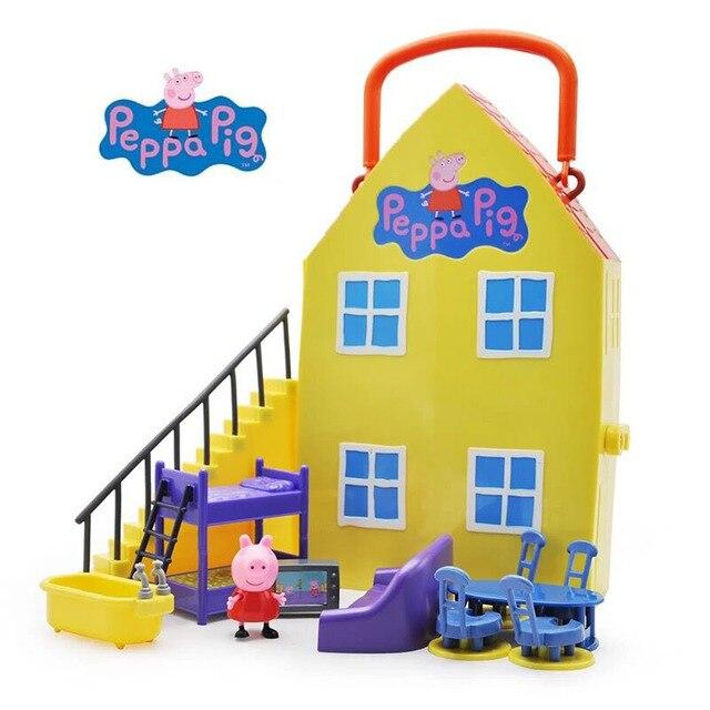 Casa De Luxo genuíno do Peppa Pig Peppa AÇÃO PLAYSET FIGURA PLAY SET  playhouse Toy Kids