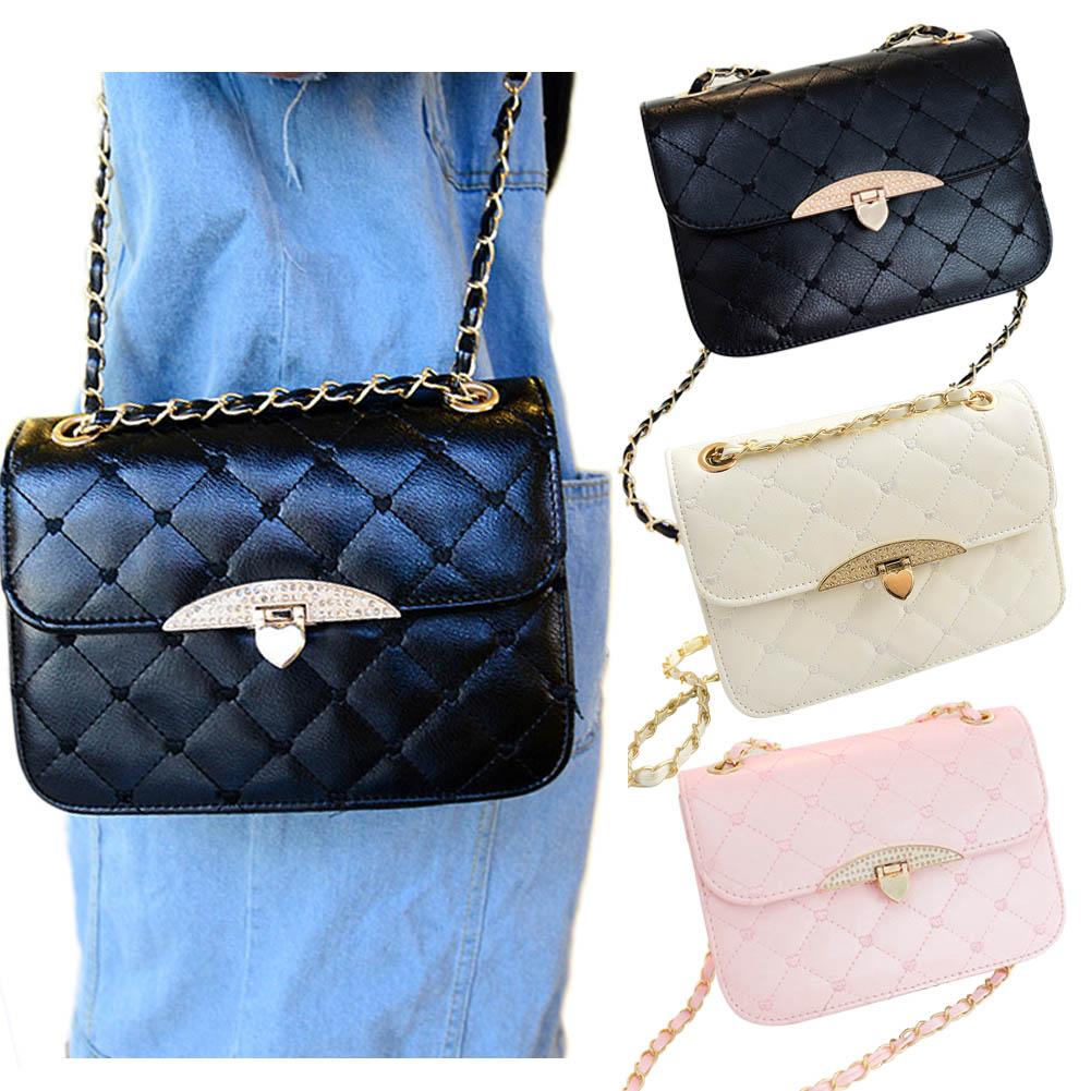 Новые женские Модные PU кожа Сумка Сладкий Портфели сумки цепь сумка черного, розового и белого цвета 88 wml99