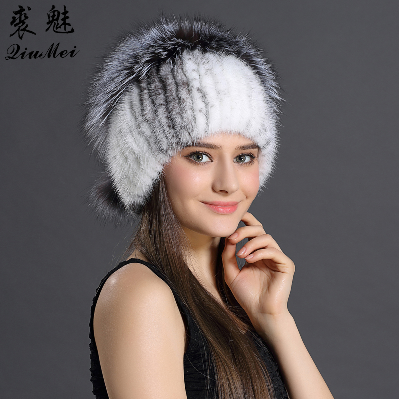 QiuMei Russian Woman Hat Mink Fur Thicken Patchwork 6 Colors Knitted With Pompon Fox Fur Top Warming Luxury Ladies Mink Fur Caps