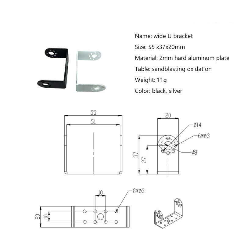Сервопривод кронштейн, для Двухосевой цифровой сервопривод подшипник кронштейн для DIY гуманоид робот рука, Роботизированная часть Аксессуар