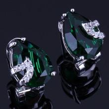 Unique Pear Green Cubic Zirconia White CZ 925 Sterling Silver Clip Hoop Huggie Earrings For Women V0927