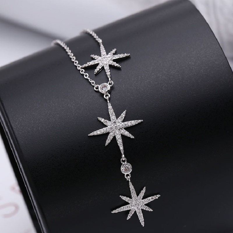 Newest European And American Fashion Casting  Three Star Paving Rhinestone  Necklace New Collarbone Necklace Silver