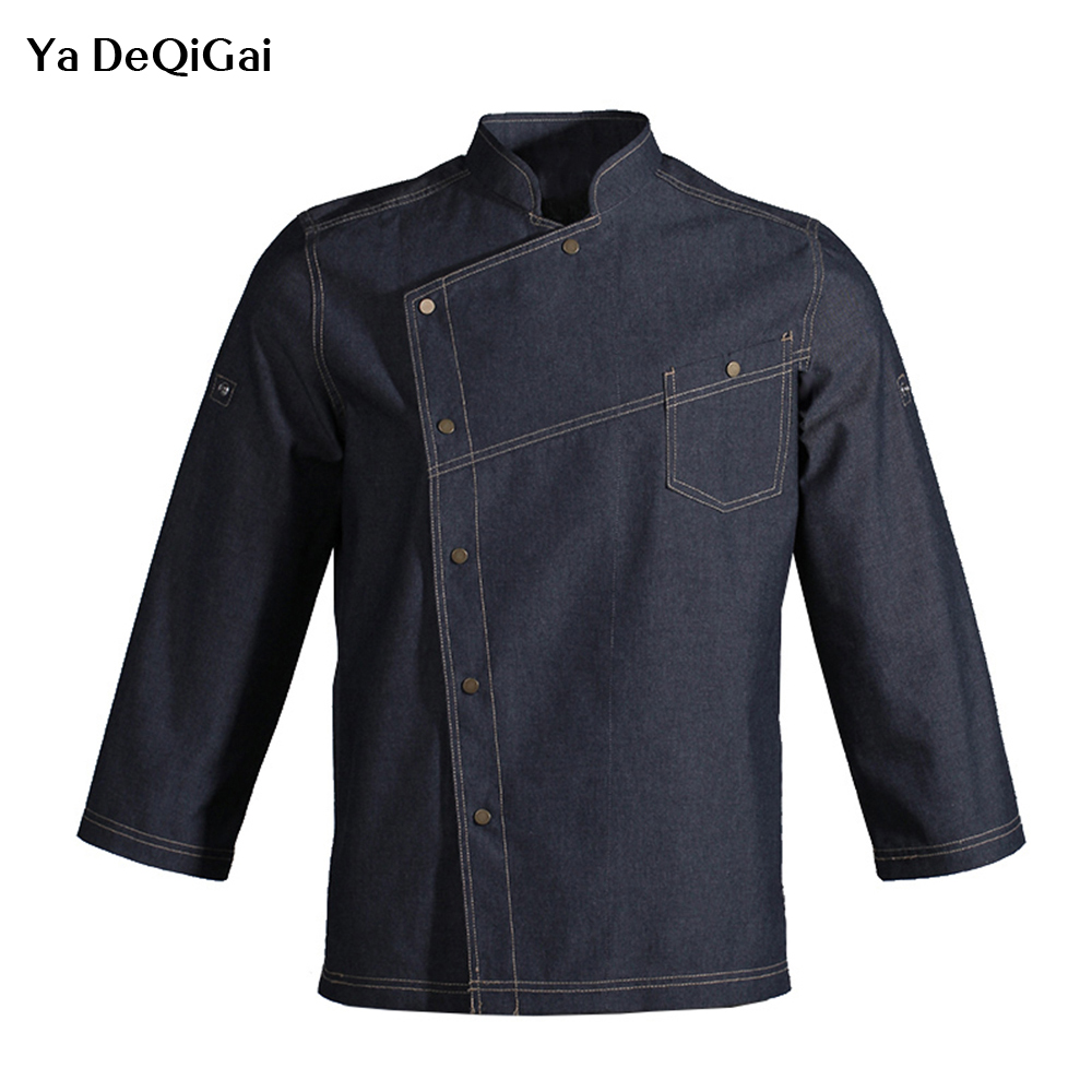 Unisex Long Sleeve Kitchen Chef Uniforms New Food Service Denim Fabric Chef Jackets Cook Wear Bakery Breathable S-3XL Wholesale