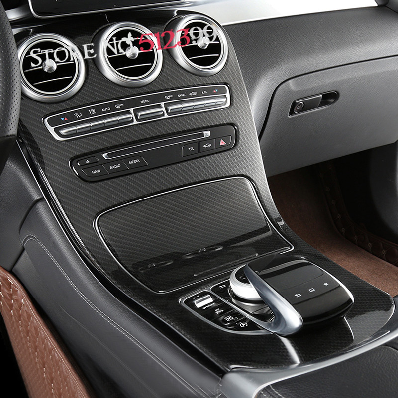 2pcs ABS Plastic Carbon Fiber Style Console Gear Panel Cover Frame Trim  For Mercedes Benz GLC 2015 2016 2017