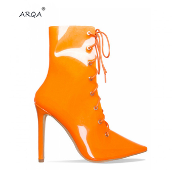 ARQA New Model Fashion Womens Transparent Perspex Booties Pointy Toe Stiletto Heel Lace up Ankle Boots