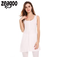 Zeagoo Women O Neck Sexy Summer Sleeveless Draped Long Tank Tops Solid Slim Casual Basic Tops