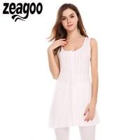 Zeagoo Women O Neck Sexy Summer Sleeveless Draped Long Tank Tops Solid Slim Casual Basic Tops